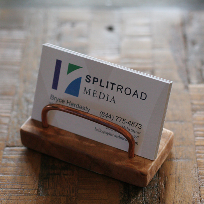Business card holder custom wood type copper wire card holder 1 reheart Image collections